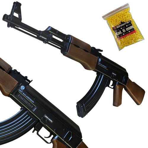 Kalashnikov AK-47 wood Softair Gewehr Federdruck < 0,5 Joule mit Kugeln