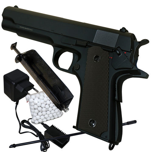 GSG 1911 AEP Softair Pistole elektrisch 6 mm < 0,5 Joule + Zubehör